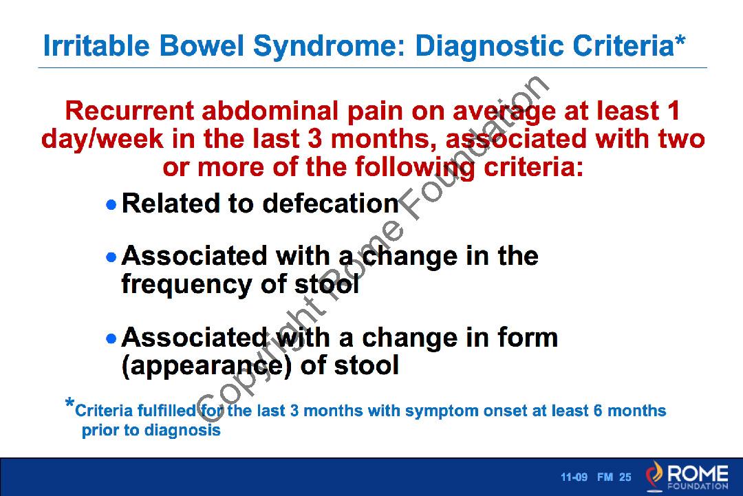 Bowel 009 - Irritable Bowel Syndrome-Diagnostic Criteria